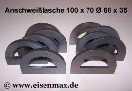 187 Anschweißlasche 100 x 70 ø 60 / 35 - 8 mm Stahl - Bild vergrößern