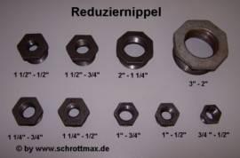 25e Reduziernippel 1 1/4 - 1/2 Zoll Temperguss schwarz - Bild vergrößern